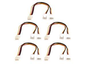 5 Pcs 3 Wire 3 Pin Female to Double Male PC Fan Y Splitter Extension Cable 20cm