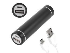 2600mAh Cylindrical USB Portable Power Bank External Battery Charger Black