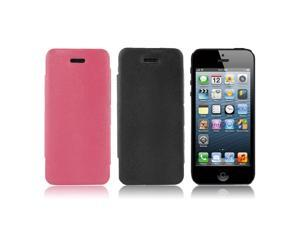 2 Pcs Folio PU Leather Stand Case Cover Black Fuchsia for iPhone 5 5G 5S 5th Gen