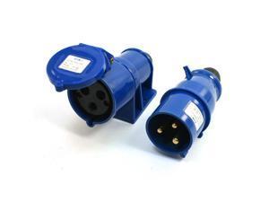 IEC309-2 32A 220-240V 2P+E IP44 3 Pin Plug w Waterproof Coupler Socket