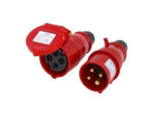 Waterproof IEC309-2 3P+E Industrial Plug Socket Red AC 220-240V 16A