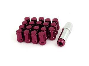 20 Pcs Metal M12 x 1.25 Hex Security Lock Wheel Lug Nuts Red w Hex Key