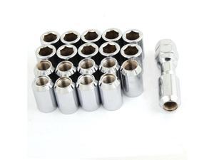 20 Pcs Silver Tone Hex Security Lock Wheel Lug Nuts M12 x 1.5 Screw for Car