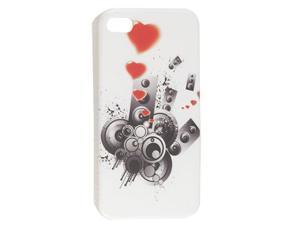 Nonslip Side Circle Red Heart Print Back Shell White for iPhone 4 4G 4S