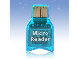New Mini Smart Compact M2 Micro SD Card Reader Blue