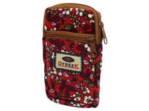 Red Flowers Pattern Stretchy Strap Design Cell Phone Pouch Wrist Bag
