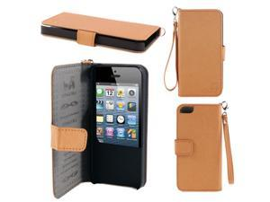 Orange Faux Leather Protective Flip Cover Case Pouch Wallet for iPhone 5 5G 5th