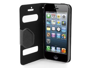 Black PU Leather Protective Magnetic Closure Flip Case Cover for iPhone 5 5G 5th