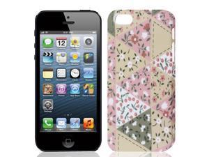Flower Print Green Hard Plastic Back Case Shell for Apple iPhone 5 5G 5th Gen