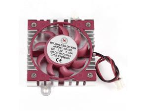 Red Silver Tone 2 Pin Connector Computer VGA Heatsink Cooler Cooling Fan 45x10mm