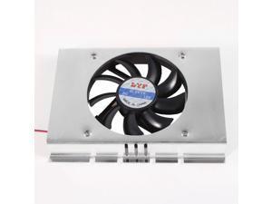 """Black Plastic Fan Silver Tone Alloy Shell 3.5"""" Hard Disk Cooling Cooler 1-Fan"""