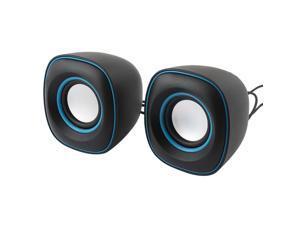 Pair Black Blue Cube Design USB 2.0 3.5mm Stereo Multimedia Speaker Sound Box