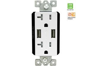 TOPGREENER TU22048A 4.8A Ultra High-Speed USB Charger 20A TR Receptacle with Interchangeable Face Covers