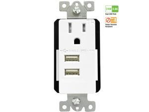 TOPGREENER TU11548A-W 4.8A Ultra-High Speed Dual USB Charger with 15A TR Receptacle, White