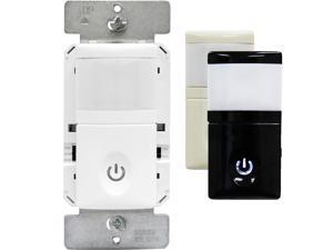 Enerlites HMOS-J Occupancy/Vacancy Motion Sensor Wall Switch, Backlit LED Night Light, 3 Interchangeable Face Covers, No Neutral Wire Required, White