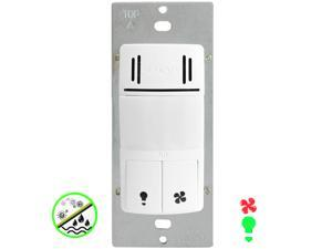Enerlites DWHOS-W Dual Tech PIR Motion & Humidity Sensor Switch for Light and Fan, 500W, Interchangeable Face Cover