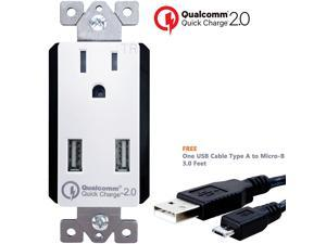 TOPGREENER TU1152QC Quick Charge 2.0 36W Dual USB Charger Outlet for Samsung Galaxy, Google Nexus, Motorola Droid, Micro-B USB Cable Included