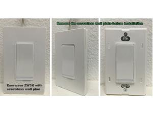 Enerwave ZW3K Z-Wave Wireless 3-Way Add On Auxiliary Switch W/ LED Locator and Two Covers - Light Almond