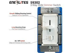 Enerlites 59302-W Single Pole & 3-Way Slide Dimmer Switch, Dimmable CFL/LED 150W, Incandescent/Halogen 120VAC 60Hz 700W, White