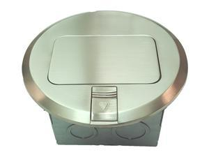 F Box Round Electrical Pop-up with Nickel-Plated Brass Cover Plate & 20A Decorator Tamper-Weather resistant /TR & WR Receptacle 961501-S