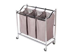 StorageManiac 3-Section Heavy Duty Laundry Hamper Sorter Superior Steel Rolling Laundry Cart with Coating Frame
