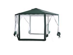 Abba Patio outdoor Sun Shade Canopy Cover Hexagon Party Pavilion Gazebo with Mosquito Net, Dark Green