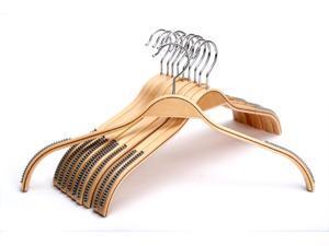 J.S. Hanger Women Coat Hangers, 10-Pack Women Wooden Clothes Hanger, Skirt Hangers with Natural Finish, Chrome Hook
