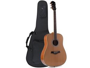 "ADM 41"" Full Size Premium Dreadnought Acoustic Electric Guitar with Foamed Case, Solid Spruce Top"