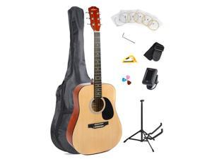 "ADM 41"" Full Size Dreadnought 6 Steel Strings Acoustic Guitar Kit/Bundle with Gig Bag, Stand, Capo, Strap, Pitch Pipe, Strings and Picks-Natural Gloss"