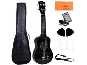 """ADM 21"""" Economic Soprano Ukulele Start Pack with Gig bag, Tuner, Black"""