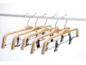 J.S. Hanger Light Wooden Hangers, Sturdy Wood Pants Hangers, Wooden Clothes Hangers with Polished Hooks and Clips - 5-Pack