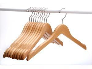 J.S. Hanger Solid Beech Wooden Coat/Jacket Hangers, Set of 10 Wood Clothes Hangers with Polished Nickel-Plated Hook - Natural Finish