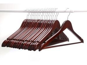 J.S. Hanger Multifunctional High-Grade Solid Wood Suit Hangers - Coat Hanger with Round Bar, Walnut Finish - 20-Pack