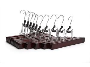 J.S. Hanger Non-slip Wooden Collection Slack Hanger - Wood Skirt Hangers, Walnut Finish - 10-pack