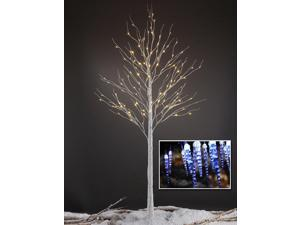 Lightshare 8FT 132L LED Birch Tree + 10L LED Icicle Twinkling(White/Blue)Decoration Light For Indoor and Outdoor Use - Warm White