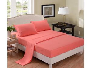 Honeymoon Super Soft Breathable 4PC Bedding Sheet Set - Twin Size Coral, Wrinkle Free, Fade-resistant, No-ironing, Deep Pockets, Easy Care