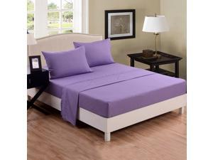 Honeymoon Soft Breathable 4Pcs Bedding Sheet Set - Queen Size, Wrinkle Free, Fade-Resistant, Deep Pockets, Easy Care - Light Purple