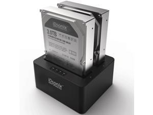 iDsonix USB3.0 Super Speed Dual Bay 2.5-inch & 3.5-inch SATA Hard Drive Docking Station with Dual-Disk Offline Copy Function and Multiple Data Security - Black
