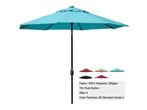 Abba Patio 9 Ft Market Outdoor Patio Table Aluminum Umbrella with Push Button Tilt and Crank, 8 Steel Ribs and Wind Vent, 100% Polyester, 250gsm with Color Fastness for Fade-Resistant, Turquoise