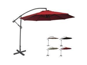 Abba Patio Deluxe 10 Ft Adjustable Offset Cantilever Hanging Patio Umbrella with Cross Base and Crank, UV Resistant, Waterproof PU Coated Polyester, Air Vented Top, Dark Red