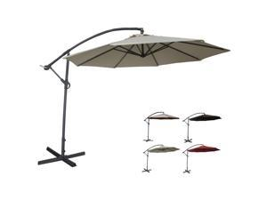Abba Patio Deluxe Ivory 10 Ft Adjustable Offset Cantilever Hanging Patio Umbrella with Base and Crank, UV Resistant,Waterproof