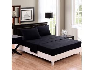 Honeymoon Microfiber Solid 4PC Bed Sheet Set - Deep Pockets, Easy Care, Wrinkle Free, Fade-resistant, King Size - Black