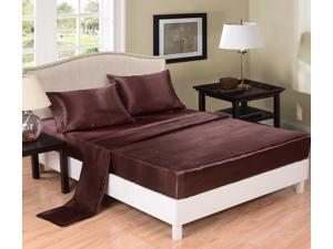Honeymoon Super Soft Solid Satin 4PC Bedding Sheet Set - King Size - Chocolate