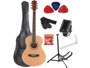 ADM 38 Inch Hand Crafed Professional Dreadnought Acousitc Guitar Package(with guitar stand, gig bag, extra strings, e-tuner, picks) for beginners, Attractive Glossy Natural Finish