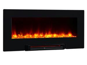 PuraFlame Provo 36 inch Remote Control Portable & Wall-mounted Far-infrared Flat Panel Electric Fireplace Heater - 1350W - Black