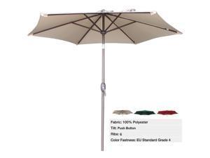 Abba Patio 9 Ft Market Aluminum Umbrella with Push Button Tilt and Crank, 6 Steel Ribs, 100% Polyester, Beige