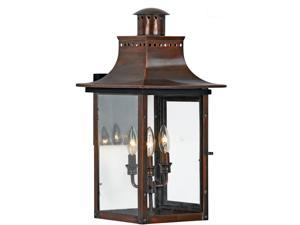 Quoizel 3 Light Chalmers Outdoor Wall Lanterns, Aged Copper - CM8412AC