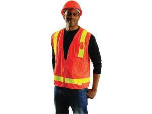 """OccuNomix Medium Orange OccuLux L'Orange Classic Premium Light Weight Solid Polyester Tricot Mesh Class 2 Vest With Front Snap Closure And 3M Scotchlite 2"""" Reflective Gloss Tape And 12 Pockets"""
