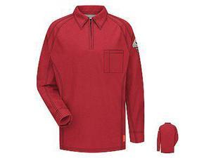 VF Imagewear Bulwark IQ 3X Red 5.3 Ounce 69% Cotton 25% Polyester 6% Polyoxadiazole Men's Long Sleeve Flame Resistant Polo Shirt With Concealed Pencil Stall, Chest Pocket And Sleeve Pocket
