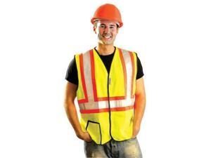 """OccuNomix 2X Hi-Viz Yellow OccuLux Premium Economy Light Weight Solid Polyester Tricot Class 2 Two-Tone Traffic Vest With Front Hook And Loop Closure And 3M Scotchlite 2"""""""